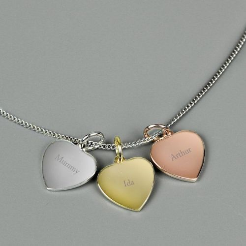 Gold, Rose Gold and Silver 3 Hearts Name Necklace